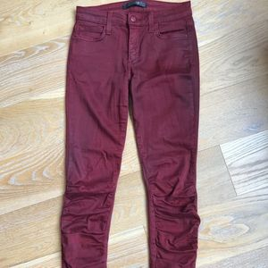 Dark Red JOE's Skinny Jeans with Ruched pant